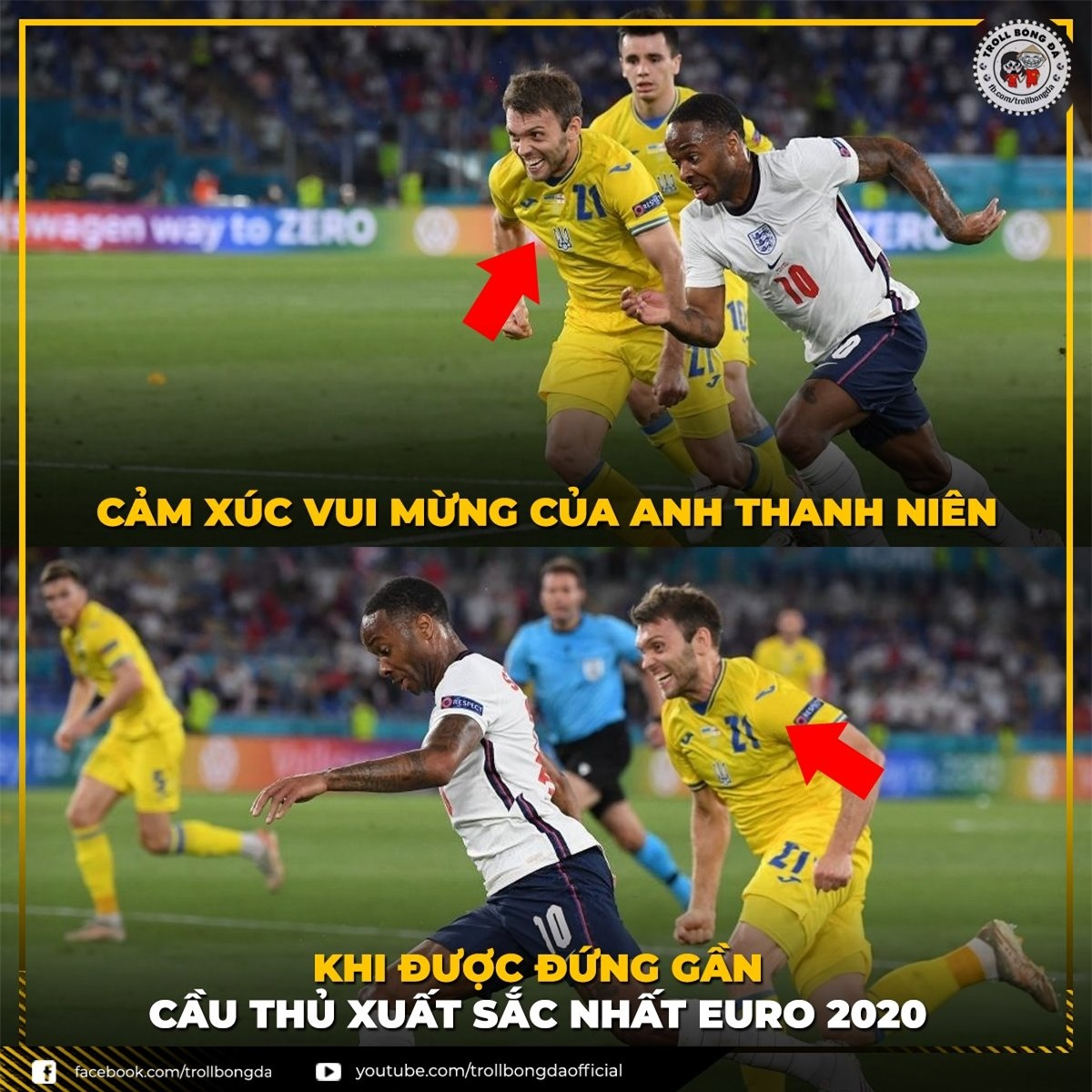 Nếu ĐT Anh vô địch EURO 2021, Raheem Sterling sẽ nhận danh hiệu Cầu thủ xuất sắc nhất? (Ảnh: Troll Bóng Đá)