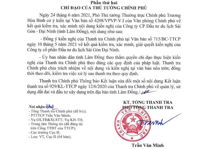 ông Trần Văn Minh - Phó Tổng Thanh tra Chính phủ (TTCP) ký văn bản thông báo Kết luận 1081 sửa đổi một số nội dung Kết luận thanh tra 929/KL-TTCP ngày 12/6/2020 (KLTT 929) về việc quản lý, sử dụng đất đai và đầu tư xây dựng trên địa bàn tỉnh Lâm Đồng.