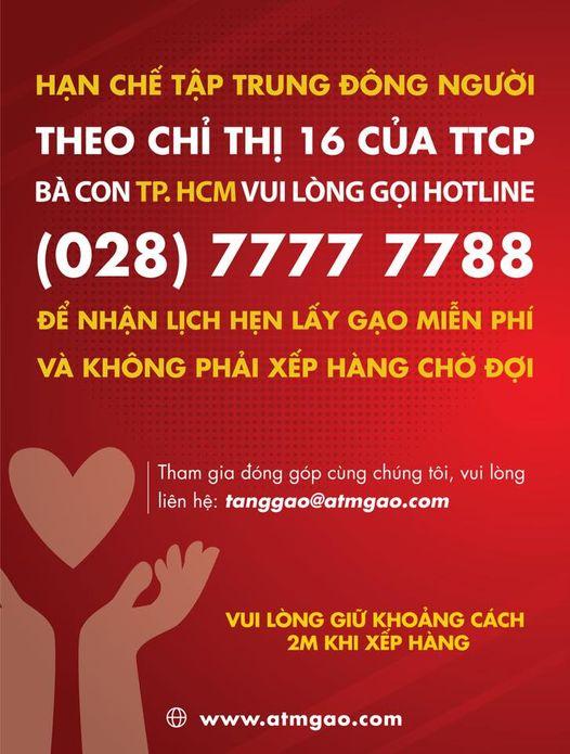 Chỉ cần gọi hotline 028 77777788 để được xếp lịch nhận gạo