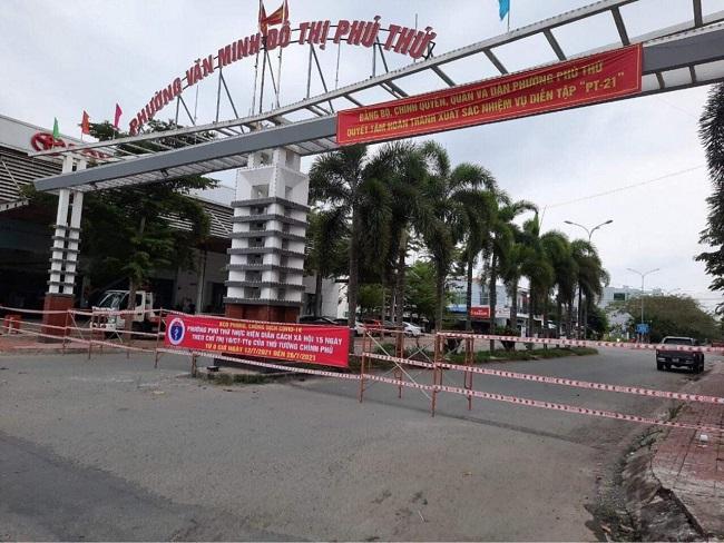 Khu phong tỏa phường Phú Thứ, quận Cái Răng.