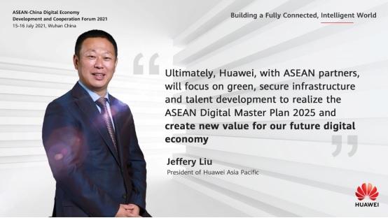 Ông Jeffery Liu, Chủ tịch Huawei Châu Á - Thái Bình Dương chia sẻ tại Diễn đàn trực tuyến Hợp tác và Phát triển Kinh tế ASEAN - Trung Quốc năm 2021.