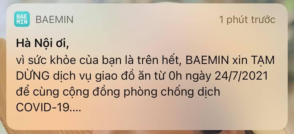 Baemin gửi thông báo tới khách hàng.