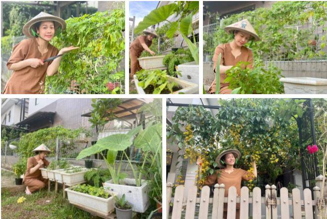 Hình ảnh đời thường giản dị của Nhật Kim Anh khi làm vườn khiến cộng đồng mạng thích thú.
