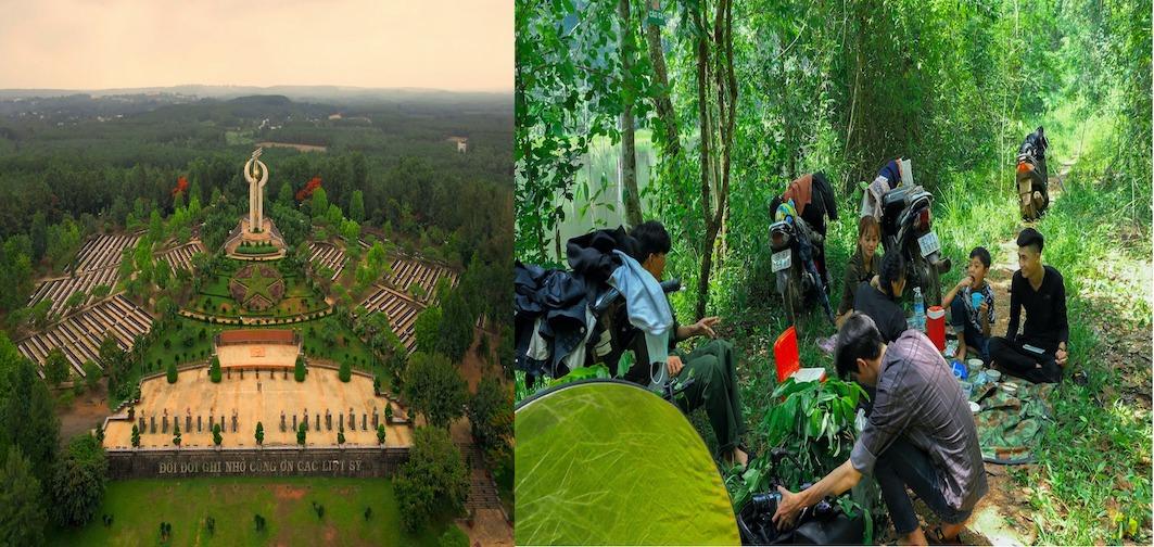 """Nghĩa trang liệt sỹ tỉnh Bình Phước (trái) và phía Bắc khu rừng nguyên sinh Mã Đà, H.Đồng Phú (phải) là nơi thực hiện các cảnh quay trong bộ phim """"Kim Cương Đen"""""""