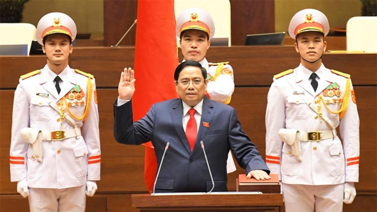 Ông Phạm Minh Chính tuyên thệ nhậm chức Thủ tướng Chính phủ nhiệm kỳ Quốc hội khoá XIV vào tháng 4/2021