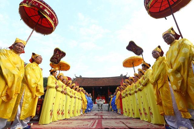 Nghi thức tế lễ tại Lễ hội Cổ Loa 2020. Ảnh: Minh Quyết/TTXVN.