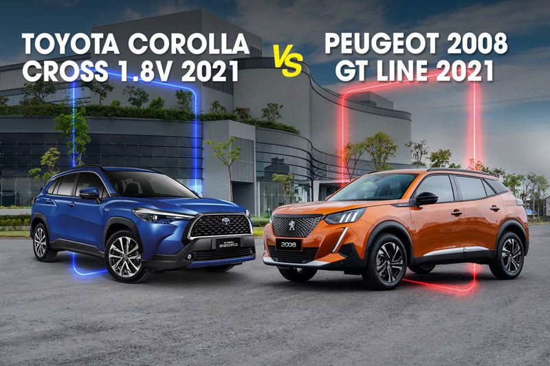 So sánh Toyota Corolla Cross 1.8V với Peugeot 2008 GT Line