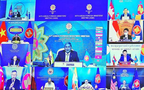 Hội nghị Bộ trưởng Ngoại giao ASEAN lần thứ 54 khai mạc theo hình thức trực tuyến, sáng 2/8/2021. (Ảnh do báo Thế giới và Việt Nam cung cấp)