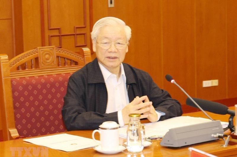 Tổng Bí thư Nguyễn Phú Trọng chủ trị một cuộc họp của Ban Chỉ đạo Trung ương về phòng, chống tham nhũng.