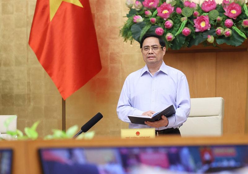 Thủ tướng Chính phủ Phạm Minh Chính kết luận tại cuộc họp. Ảnh: Dướng Giang/TTXVN