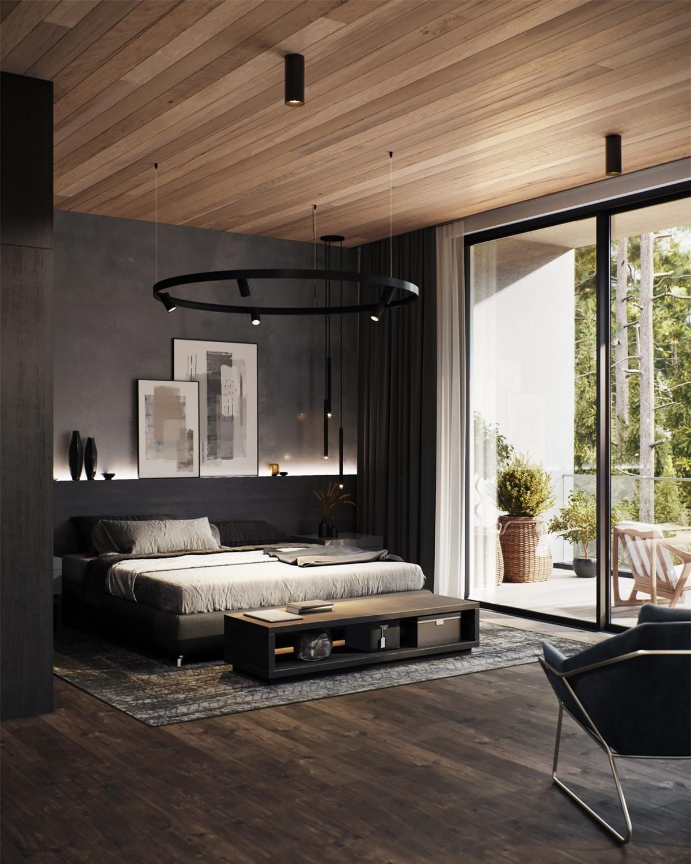 Màu đen và gỗ là một sự kết hợp vô cùng ăn ý phù hợp với kiểu trang trí phòng ngủ mộc mạc.