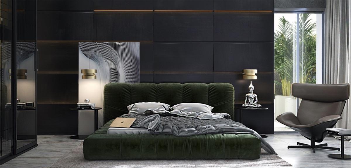 Bạn có thể lựa chọn chủ đề màu xanh lá cây trong phòng ngủ màu đen thông qua các chi tiết trang trí hay là những bộ chăn ga, gối cũng rất lôi cuốn.