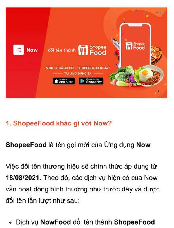 Từ 18/8, ứng dụng giao đồ ăn Now sẽ chính thức đổi tên thành ShopeeFood.
