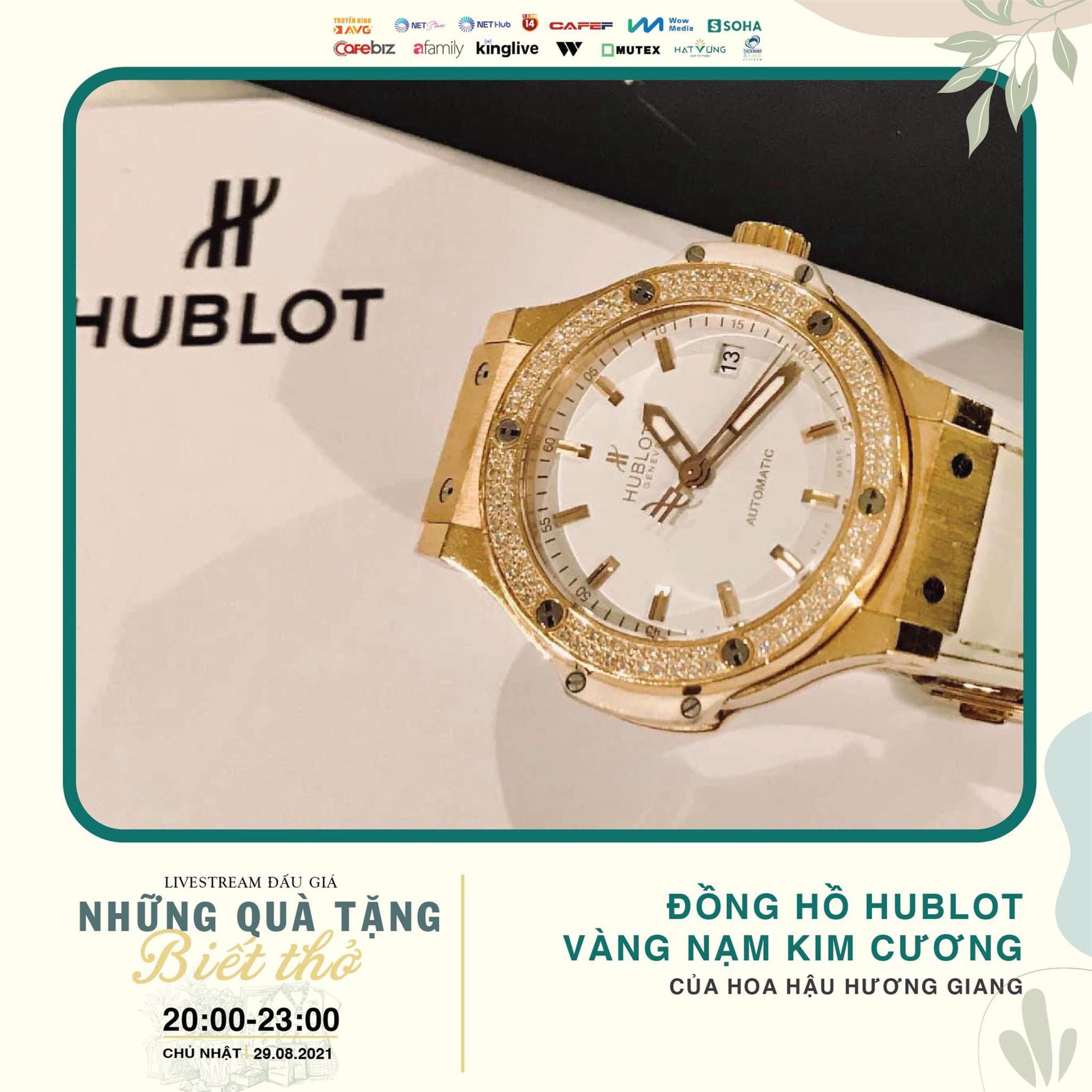 Đồng hồ kim cương của Hoa hậu Hương Giang được bán được 699 triệu đồng, ủng hộ tiền mua máy thở - Ảnh 1.