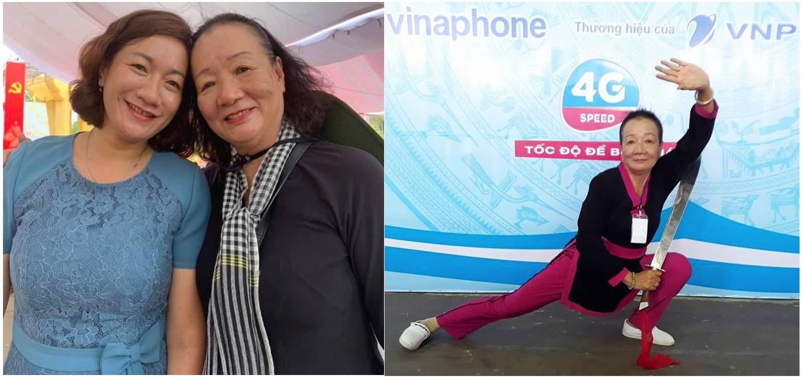 """Được mệnh danh là """"Bang chủ của Cái Bang"""", bà Dương Thị Tuyết (đang múa kiếm) là người có trái tim đầy nhân hậu"""