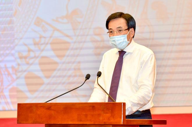 Bộ trưởng, Chủ nhiệm VPCP Trần Văn Sơn cung cấp thông tin về phiên họp Chính phủ thường kỳ. Ảnh: VGP/Nhật Bắc