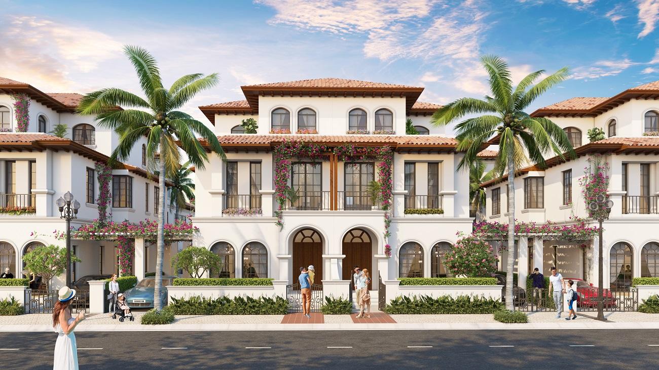 Phối cảnh minh họa biệt thự nghỉ dưỡng ven sông Đơ mang phong cách Miami.