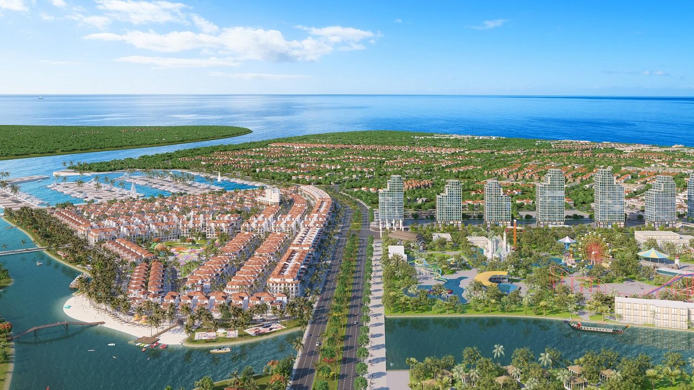 Sun Group sẽ đánh thức dòng sông Đơ tại Sầm Sơn và kiến tạo thành phố nghỉ dưỡng đa sắc màu kế sông kề biển. Ảnh phối cảnh minh họa.