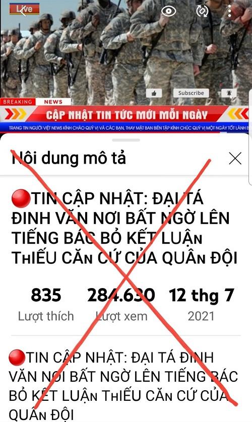 Hình ảnh xuyên tạc trên trang tin Người Việt  Live ( cắt từ Youtube)