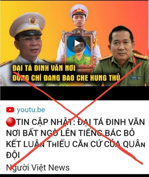 """Kênh """"Người Việt News"""" sử dụng hình ảnh trái phép và giả mạo lời phát biểu của Đại tá Đinh Văn Nơi, Giám đốc Công an An Giang ("""