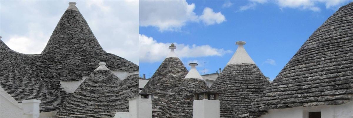 Nhà lợp bằng bằng những tấm đá vôi dẹt, chồng lên nhau, không cần trát vữa, và người nông dân chọn mái vòm vì là cấu hình đơn giản nhất. Trullo được quét vôi trắng, trên mái hình chóp của trullo thường có một đỉnh cao bằng đá sa thạch được làm thủ công với những kiểu dáng: đĩa, quả bóng, hình nón, bát, khối đa diện… đây được cho là tượng trưng chữ ký của người thợ xây nhà.