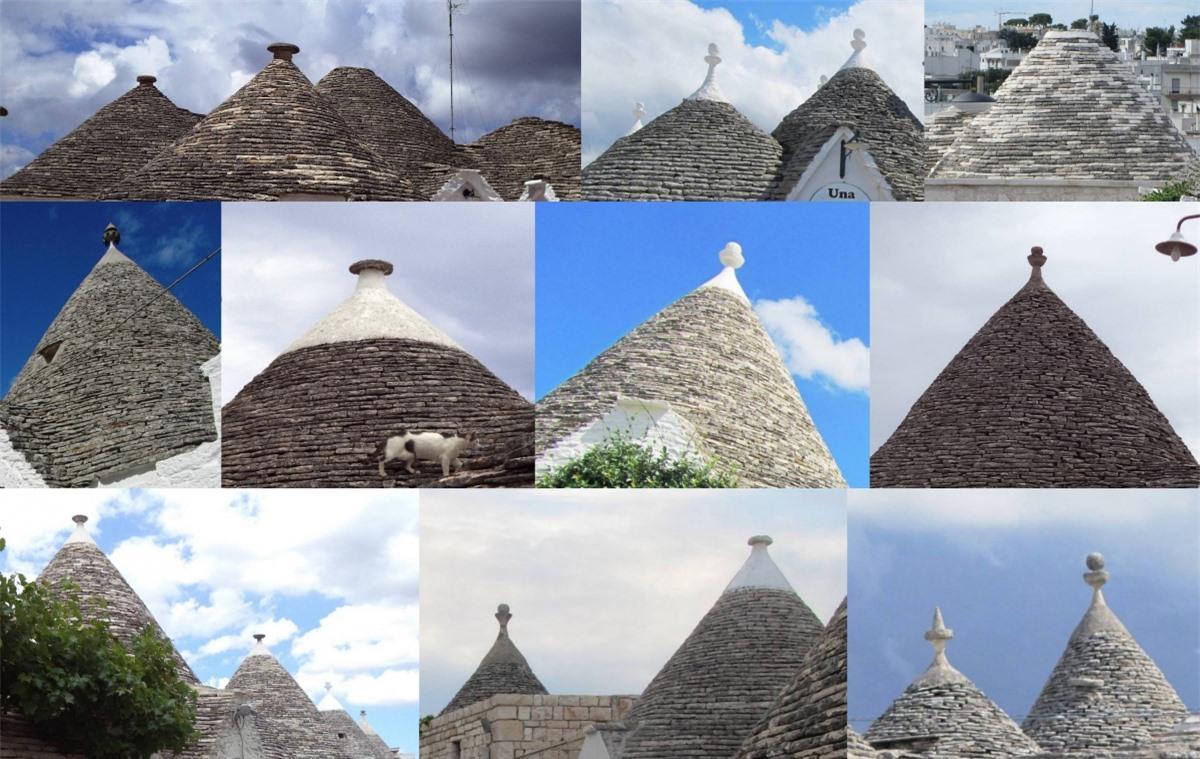 Một số chóp trullo bị cắt cụt phần đỉnh, thành một lỗ tròn ở trên được che bởi một phiến đá tròn có thể di chuyển được. Lối vào lỗ bằng một cầu thang bên ngoài được xây dựng trên mái nhà.