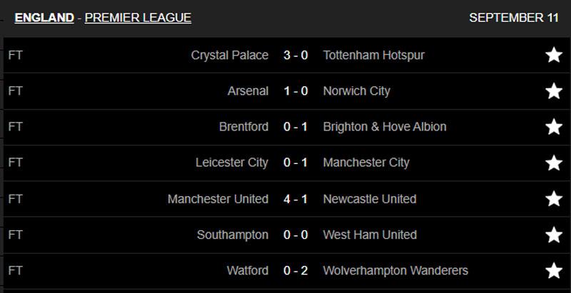 Kết quả các trận đấu đã kết thúc ở vòng 4 Premier League. Ảnh: Livescore.
