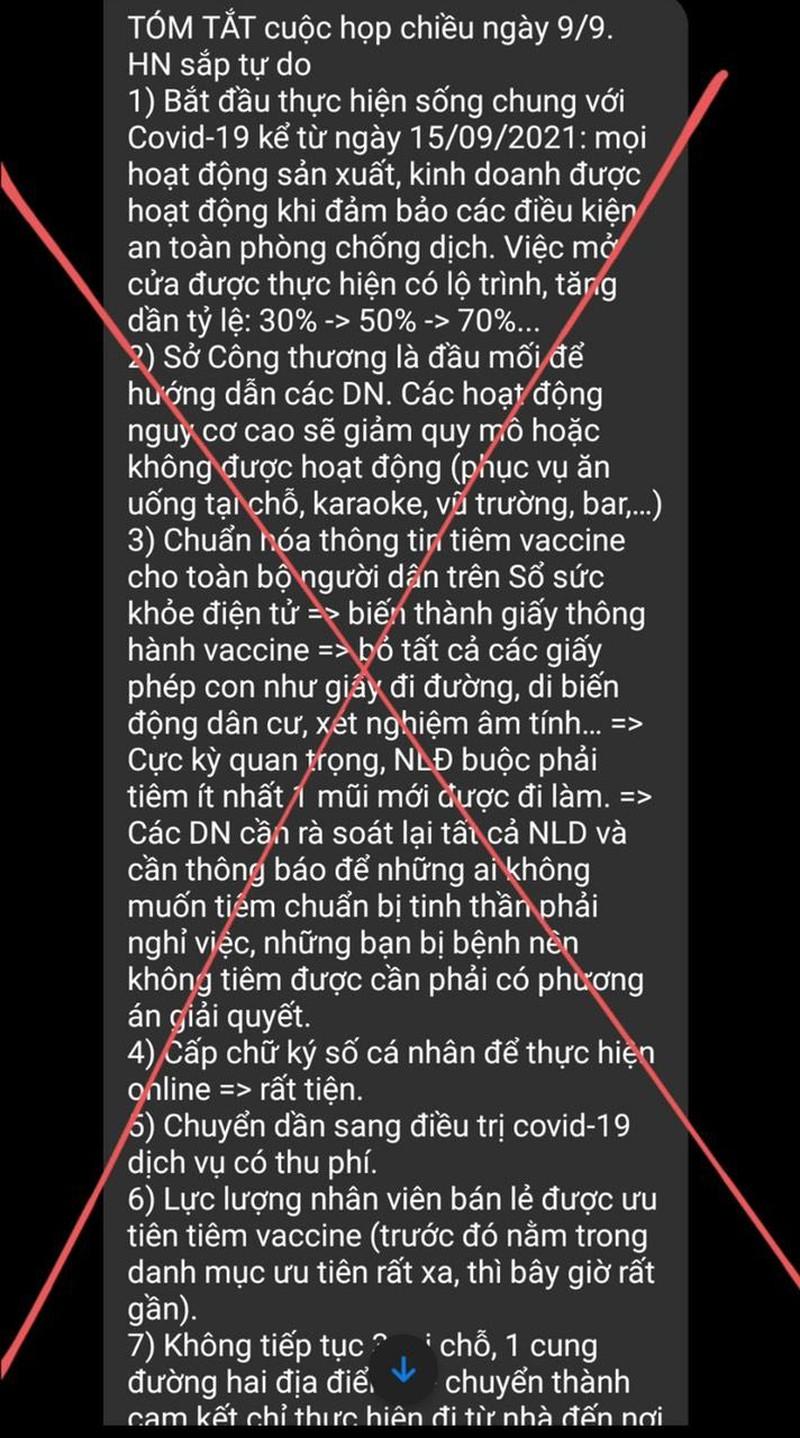 Sở TT&TT Hà Nội khẳng định thông tin về cuộc họp chiều 9/9 liên quan đến công tác phòng chống dịch Covid-19 đang lan truyền trên nhiều hội nhóm, mạng xã hội là tin giả.