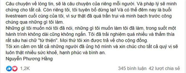 Xôn xao bức tâm thư của đại gia Phương Hằng: Tuyên bố dừng lại sau ồn ào từ thiện, thực hiện buổi livestream cuối và đưa ra một tiết lộ sốc - Ảnh 2.