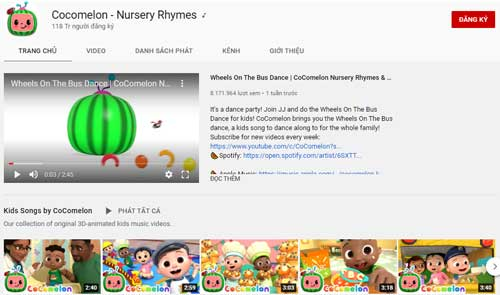 2. Cocomelon - Nursery Rhymes (Lượt đăng ký: 118 triệu).