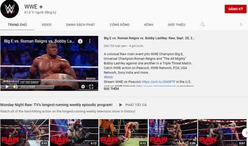 6. WWE (Lượt đăng ký: 81,8 triệu).