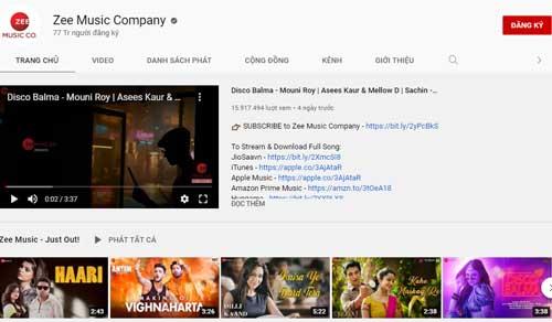 7. Zee Music Company (Lượt đăng ký: 77 triệu).