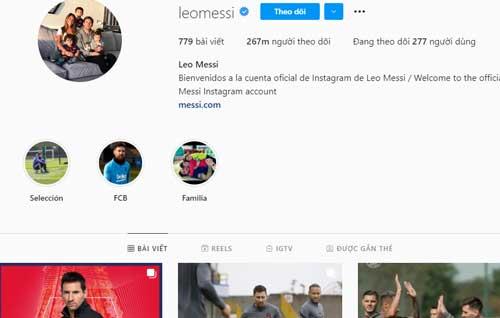 =5. Lionel Messi - Lượt theo dõi: 267 triệu người.