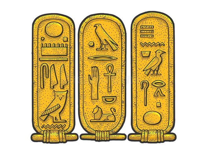Đồ vật trong ảnh được gọi là cartouche, được dùng để viết những văn bản có tên người nổi tiếng, thường là người trong hoàng gia như vua, hoàng hậu. Cartouche là những tấm khung hình bầu dục, tượng trưng cho sự trường tồn. Người Ai Cập cổ đại viết tên người lên cartouche, với mong muốn những người này sẽ có cuộc sống vĩnh cửu. Ảnh: Dreamstime.