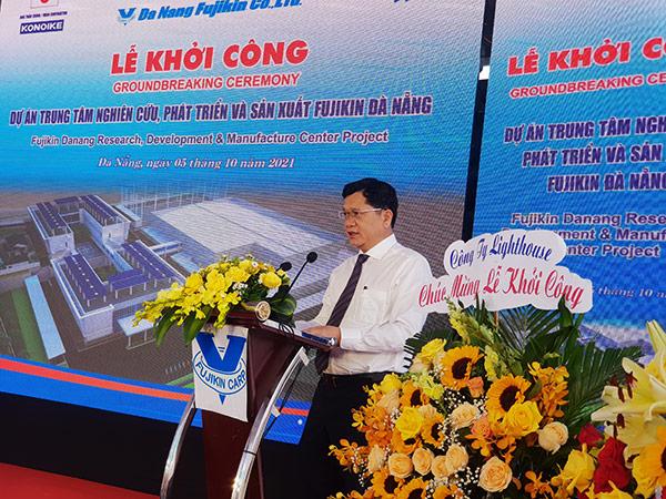 Phó Chủ tịch UBND TP Đà Nẵng Trần Phước Sơn phát biểu tại lễ khởi công dự án