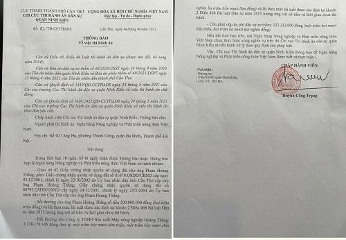 Thông báo ngày 4/10 của Chi Cục THA DS  quận Ninh Kiều  gửi Agribank Việt Nam