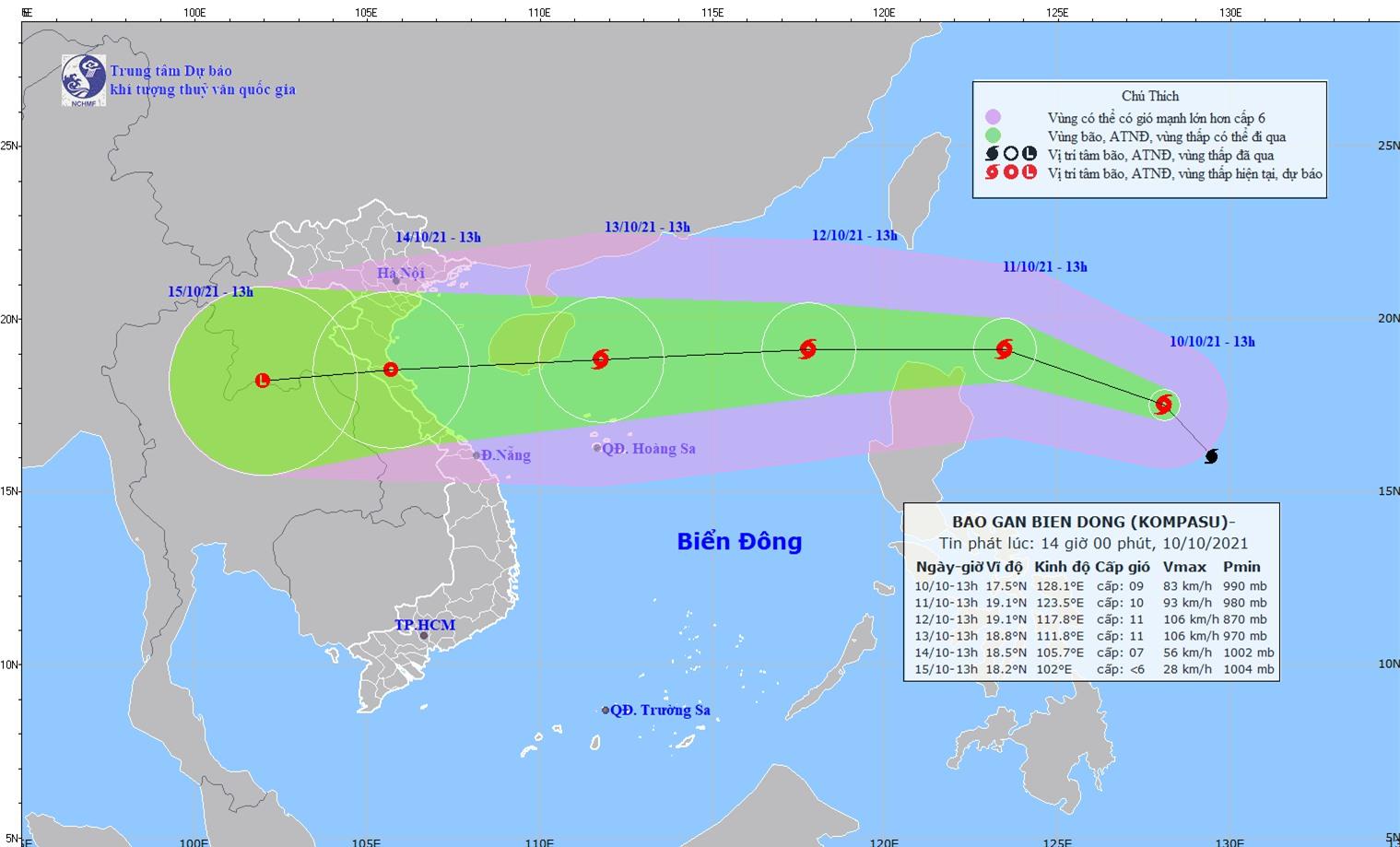Bão Kompasu tăng tốc vào Biển Đông, gió giật cấp 11