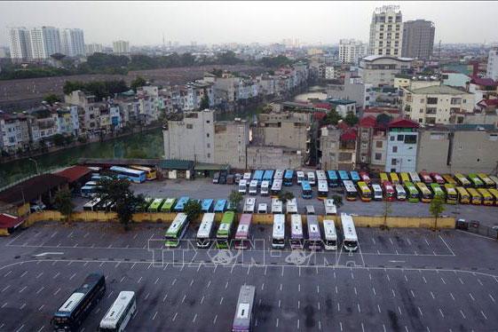 Bến xe Gia Lâm (Hà Nội). Ảnh: Thành Đạt/TTXVN