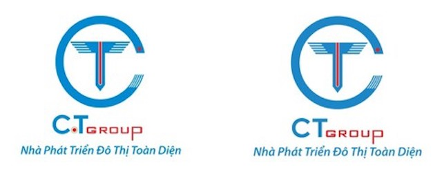 Logo cũ (bên trái) và Logo mới (bên phải) của CT Group.