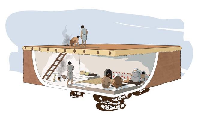 """Nhà cửa tại khu đô thị Çatalhöyük được xây sát nhau và bao quanh bởi bức tường cao và dày. Thời điểm đó, nóc nhà đóng vai trò """"đường phố"""", là nơi các gia đình gặp gỡ, cùng nhau dệt vải... Lỗ trên nóc nhà ở Çatalhöyük vừa là cửa ra vào, vừa là ống khói. Vì thế, các gia đình thường đặt lò nướng, lò sưởi ngay bên dưới cửa ra vào. Điểm đặc biệt tại Çatalhöyük chính là người dân sẽ chôn cất hài cốt tổ tiên ngay dưới nền nhà. Ảnh: Sutori."""