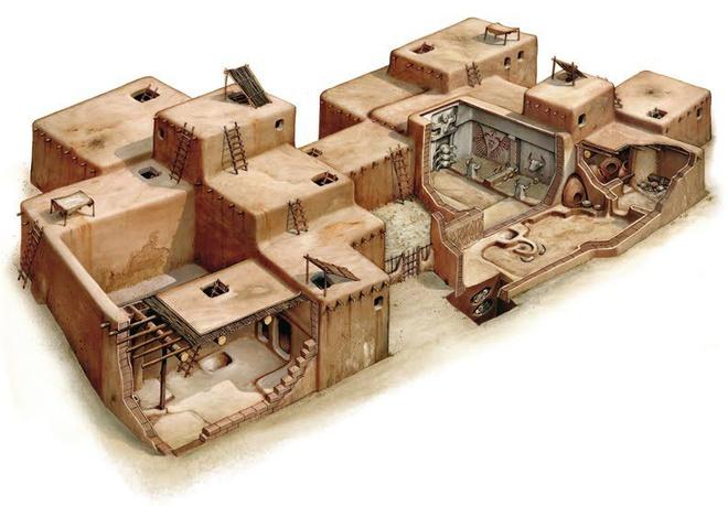 """Trước khi xã hội Çatalhöyük hình thành, con người trong khu vực sống theo lối du mục. Khu đô thị cổ này là dấu mốc cho thời điểm nhân loại bắt đầu thử nghiệm cuộc sống """"đô thị"""". Nhà ở của người Çatalhöyük được xây sát nhau, những ô cửa trên nóc nhà chính là lối ra vào. Trong thời kỳ đó, người dân dùng bùn ở đầm lầy để tạo thành gạch xây tường và dùng đất sét để đắp nền nhà. Lối sống cố định kiểu """"đô thị"""" khiến người Çatalhöyük bị cướp gia súc và lương thực. Vì thế, họ thường xây nhà sát nhau và tạo thêm những bức tường kiên cố để chống lại kẻ cướp. Ảnh: Kenney Mencher."""