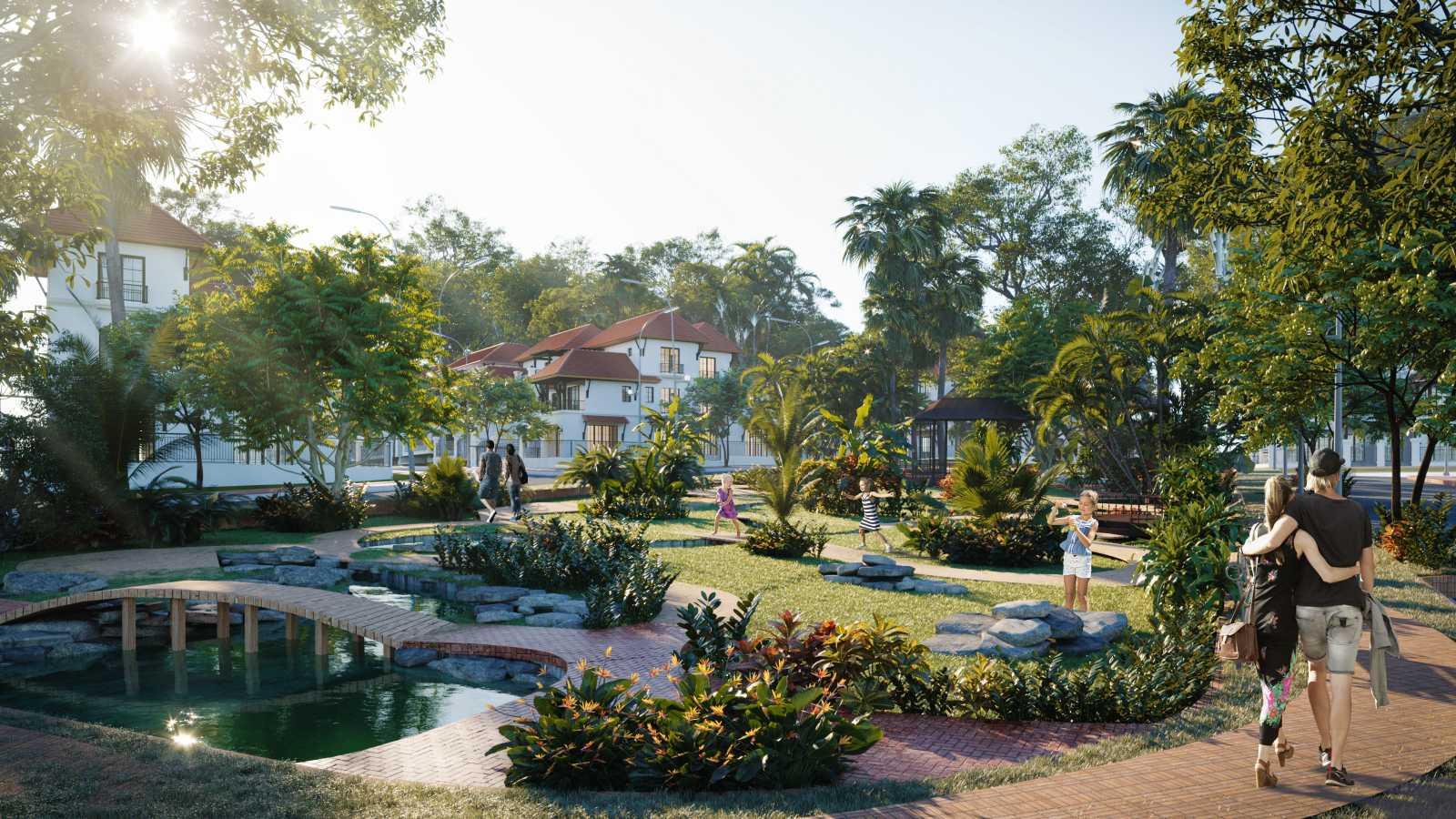Phân khu Tropical Park sở hữu 3 trong 4 công viên của toàn dự án. (Ảnh phối cảnh minh họa)