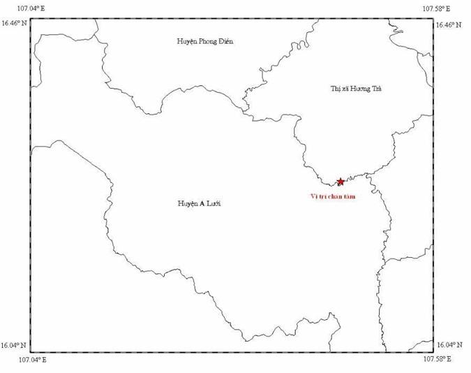 Vị trí xảy ra động đất tại huyện Hương Trà, Thừa Thiên - Huế.