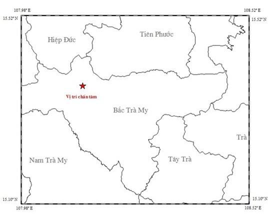 Vị trí tâm chấn trận động đất tại Bắc Trà My, Quảng Nam.