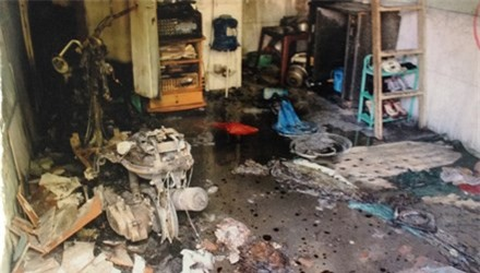 Phòng trọ chị Tr bị Việt phóng hỏa thiêu cháy rụi. Ảnh báo Tiền Phong.