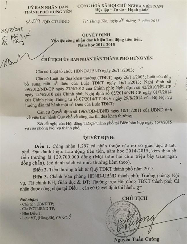 Quyết định về việc công nhận danh hiệu Lao động tiên tiến năm học 2014-2015 do Chủ tịch TP Hưng Yên Nguyễn Tuấn Cường ký.