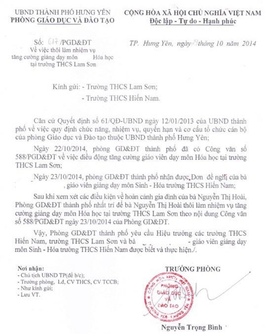 Văn bản do Trưởng phòng GD&ĐT Tp. Hưng Yên ký hủy Công văn số 558 về việc điều động chị H. đi tăng cường dạy trường khác, trong khi chị H. vẫn đang trong thời gian nuôi con nhỏ.