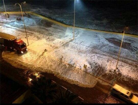 Nước biển dâng cao tràn vào khu vực thành phố Coquimbo.