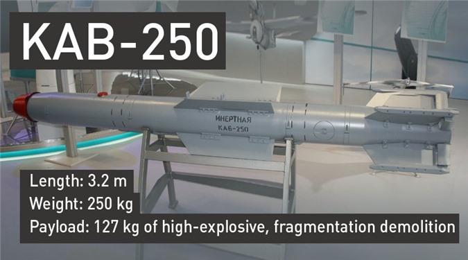 Bom KAB-250 dài 3.2m, nặng 250kg, trong đó có 127kg thuốc nổ.