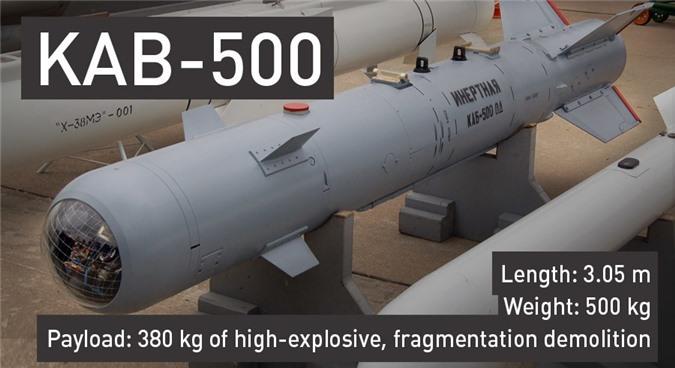 Bom KAB-500 dài 3,05m, nặng 500kg, trong đó có 380kg thuốc nổ.